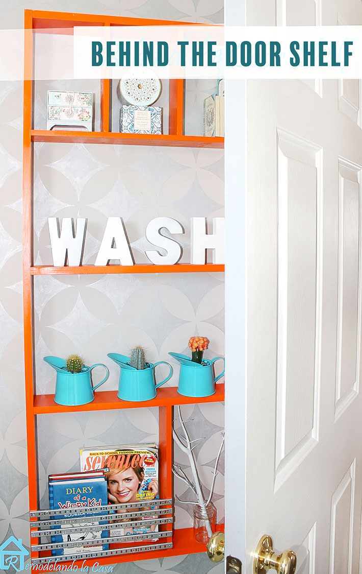 how to build a shelf for behind the door.