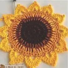 Portavasos Girasol a Crochet