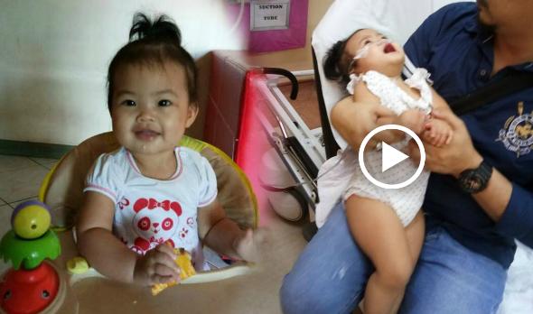 Rasfioera telah memuat naik gambar serta video anaknya yang berada di wad Hospital Likas kerana mengalami demam panas