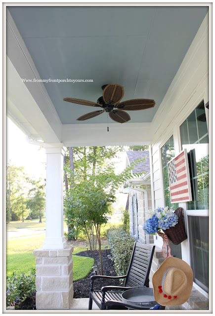 Porch Ceiling Makeover-Southern Front Porch-Haint Blue-Ceiling-Rocking Chairs-Porch Ceiling Fan-From My Front Porch To Yours
