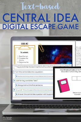 This text-based digital escape game gets middle school students practicing with using central idea to analyze text!