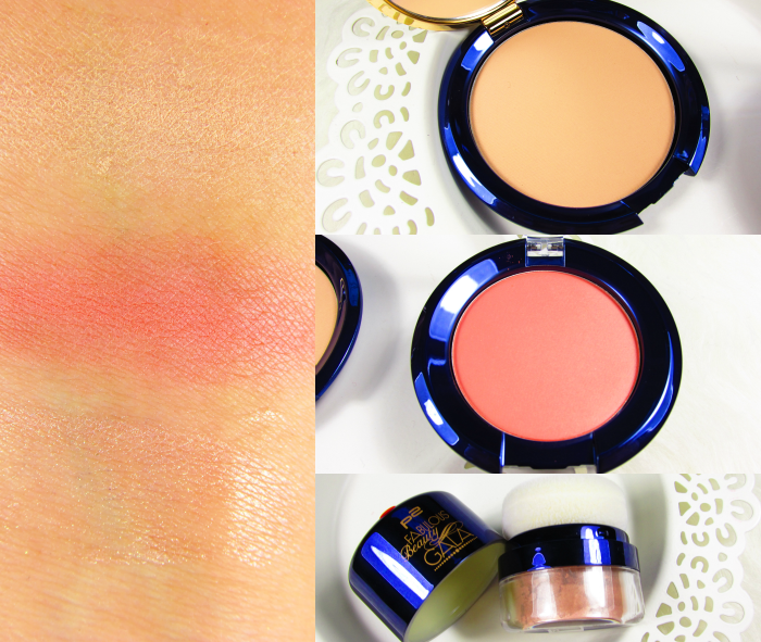 p2 Fabulous Beauty Gala Swatches - en vogue compact powder, STUNNING ALLURE BLUSH, TEMPTING LOOSE HIGHLIGHTING POWDER