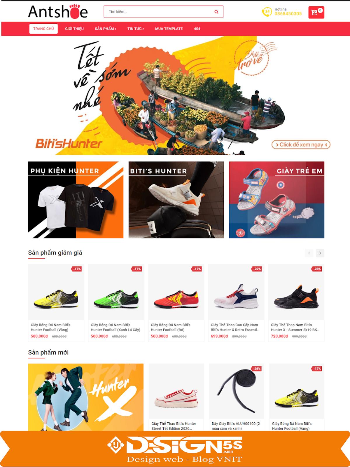Mẫu Website bán giày chuẩn seo Ant Shoes