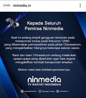 Update Resmi Ninmedia mei 2020, Transponder 12560 Mengalami Gangguan