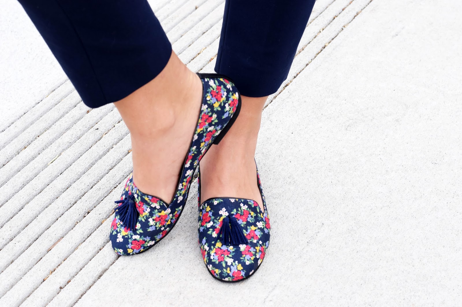 Blue floral loafers