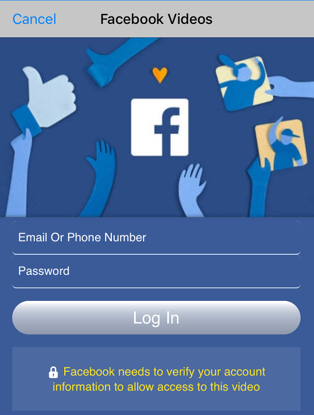 "The fake ""Facebook Videos"" login screen"