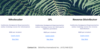 Three (3) different and unique California Designated Representative online training courses for wholesalers, 3PL, reverse distributors. Earns a training affidavit.