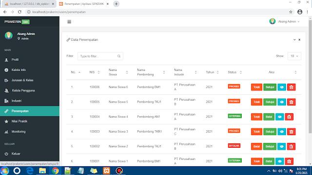 Source Code Aplikasi Prakerin Sekolah, CodeIgniter