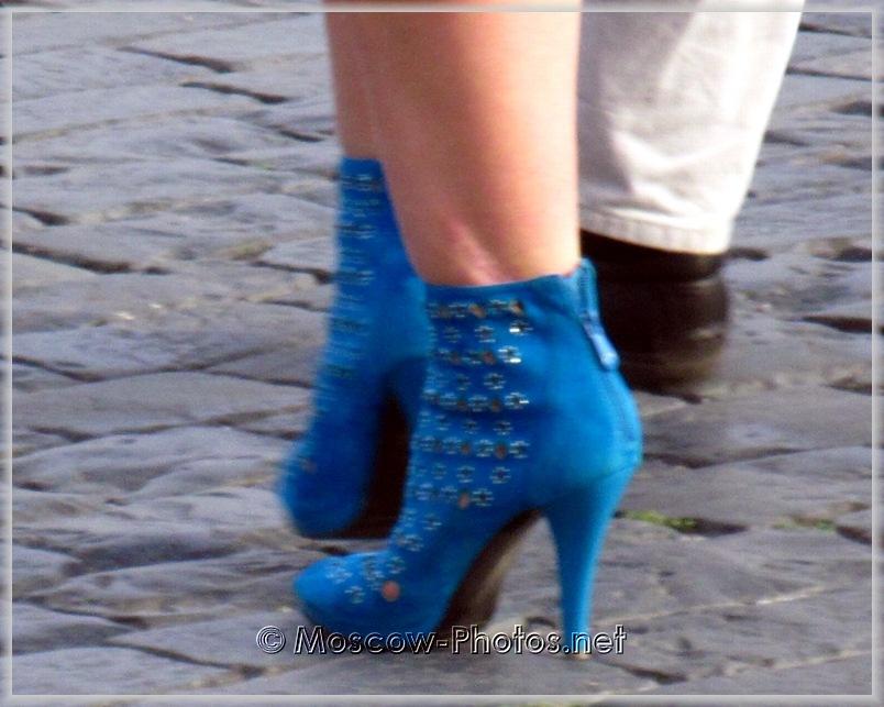 Blue Summer High Heel Boots
