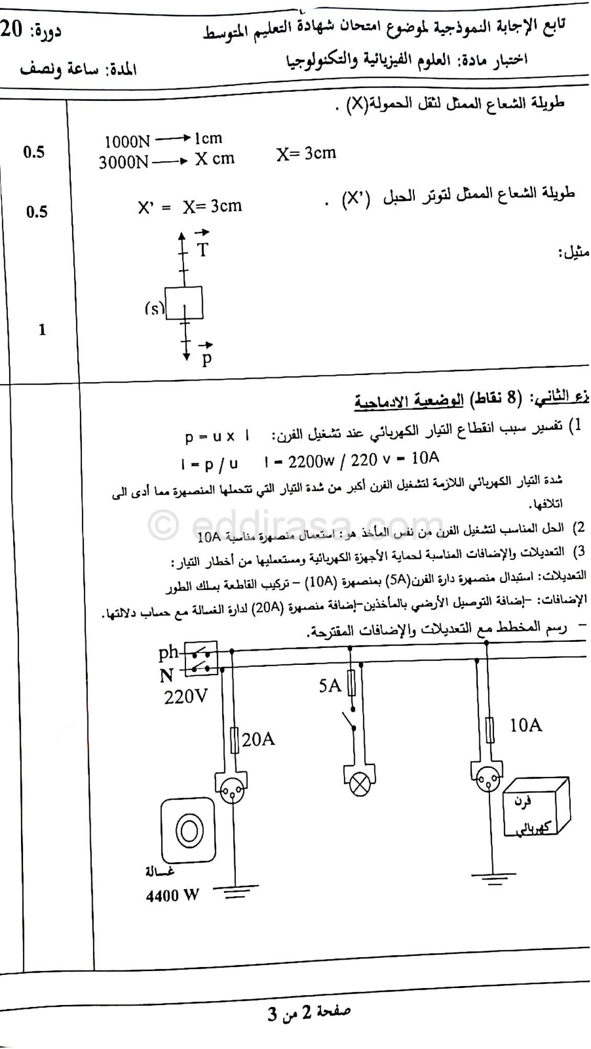 تصحيح موضوع الفيزياء لشهادة التعليم المتوسط Bem 2020 ملف pdf