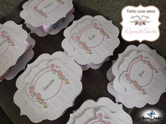 Caixa Convite para padrinhos Floral