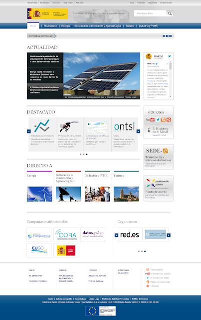 Portada de la web del ministerio de industria
