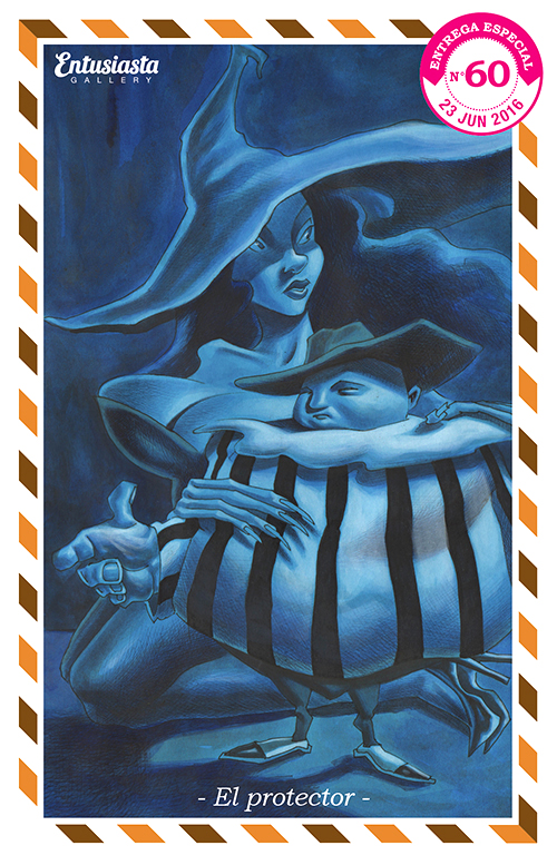 A tough guy protecting his lady... or is the other way around? A Drawing in blues by illustrator David Pugliese.
