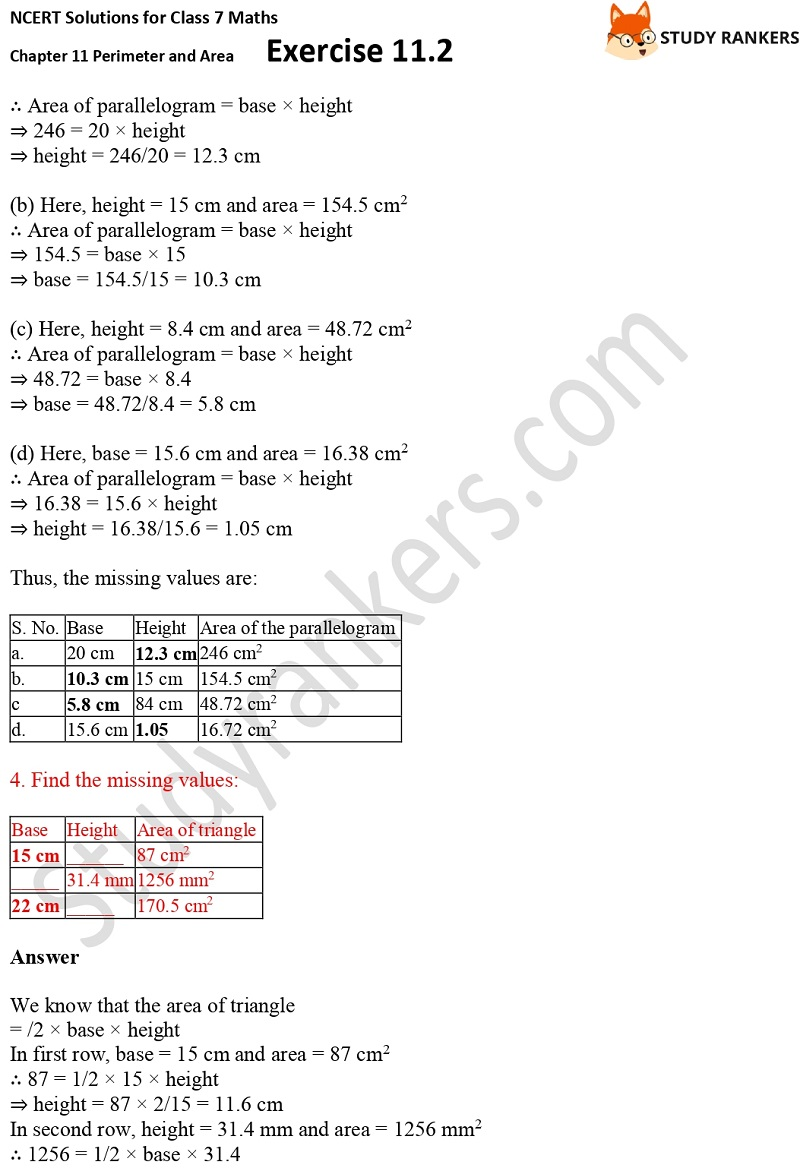 NCERT Solutions for Class 7 Maths Ch 11 Perimeter and Area Exercise 11.2 3