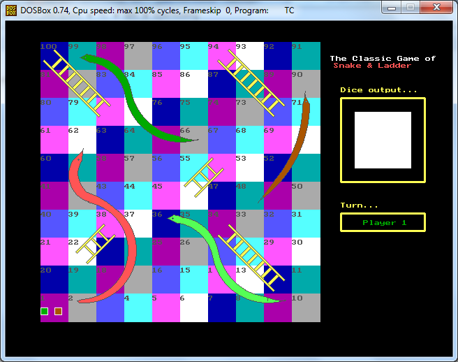 C++ Program To Implements Snake and Ladder Game ( Graphics