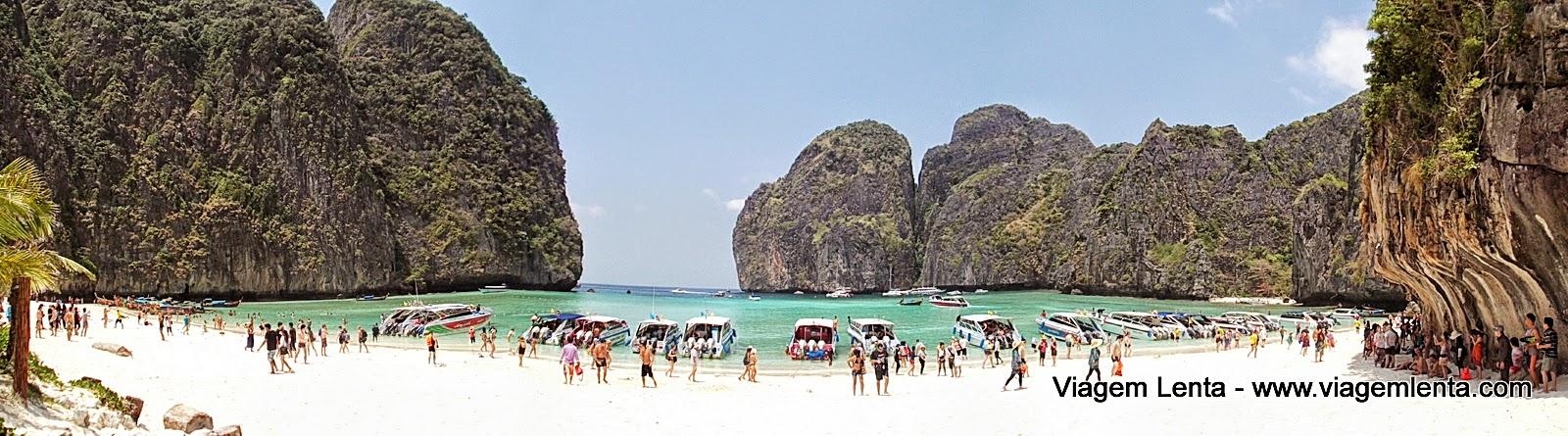 A famosa Maya Beach e a indústria do turismo em Koh Phi Phi