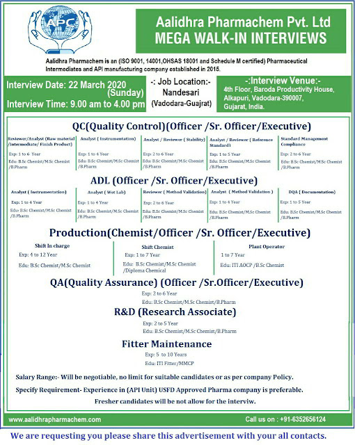 Aalidhara Pharmachem Pvt. Ltd Walk-in interview for multiple positions on 22nd Mar' 2020