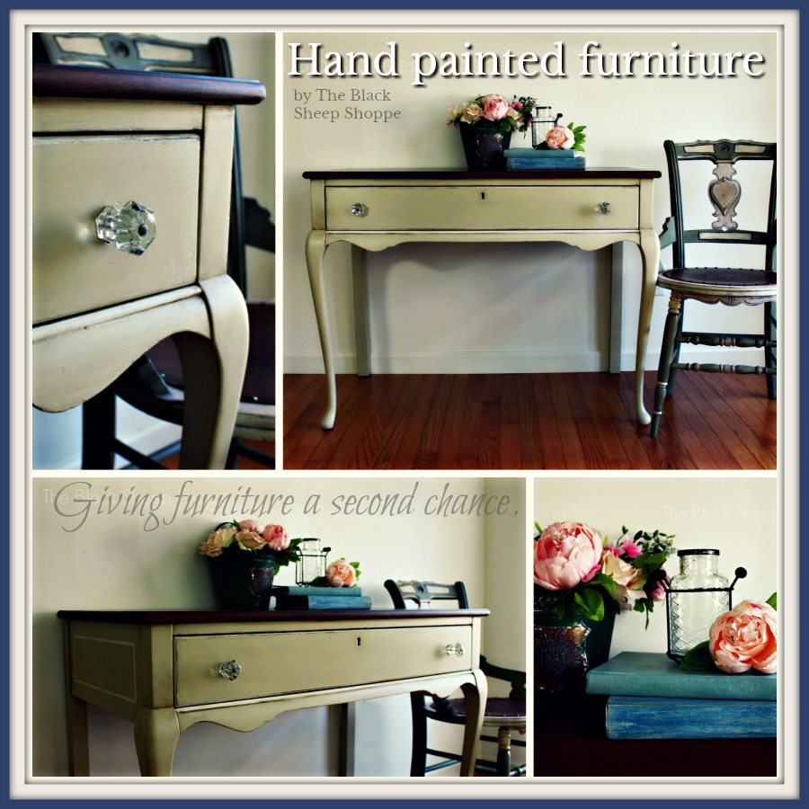Antique writing desk painted in Versailles Annie Sloan Chalk Paint by The Black Sheep Shoppe.