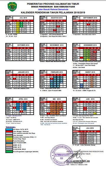 Kalender Pendidikan Tahun Ajaran 2019/2020 Provinsi Kalimantan Timur