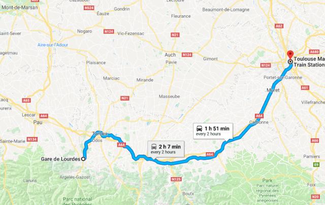 Mapa viagem de trem de Lourdes a Toulouse