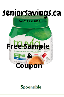 image shows picture of scoopable Truvia sweetener  Text reads: seniorssavings.ca Free Sample & Coupon Truvia