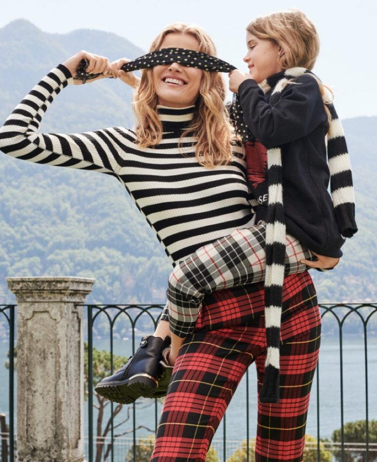 Edita Vilkeviciute is a fashionable mom in Twinset fall-winter 2019 campaign