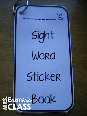 Sight word sticker books for reading practice in Kindergarten and First Grade