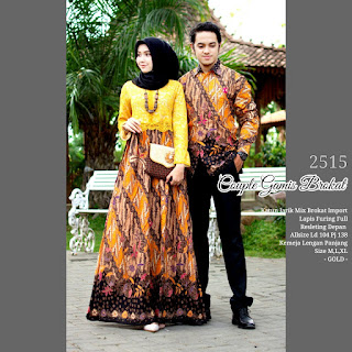 BAJU BATIK COUPLE MODEL GAMIS KATUN JARIK MIX BROKAT IMPORT TERBARU T2515