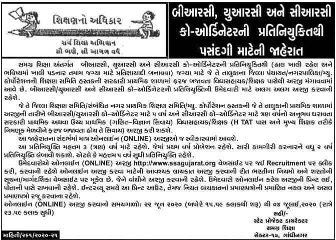 SSA Gujarat Recruitment 2020