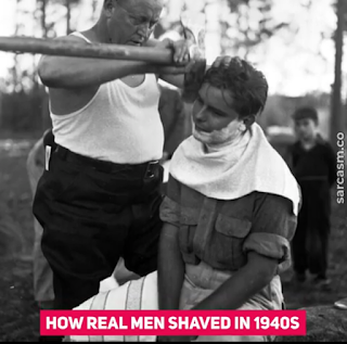 man shaving with axe - FutaNewsandGist