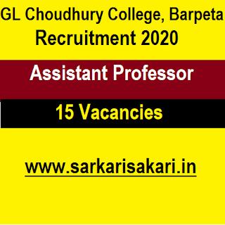 GL Choudhury College, Barpeta Recruitment 2020 - Apply For Assistant Professor Post
