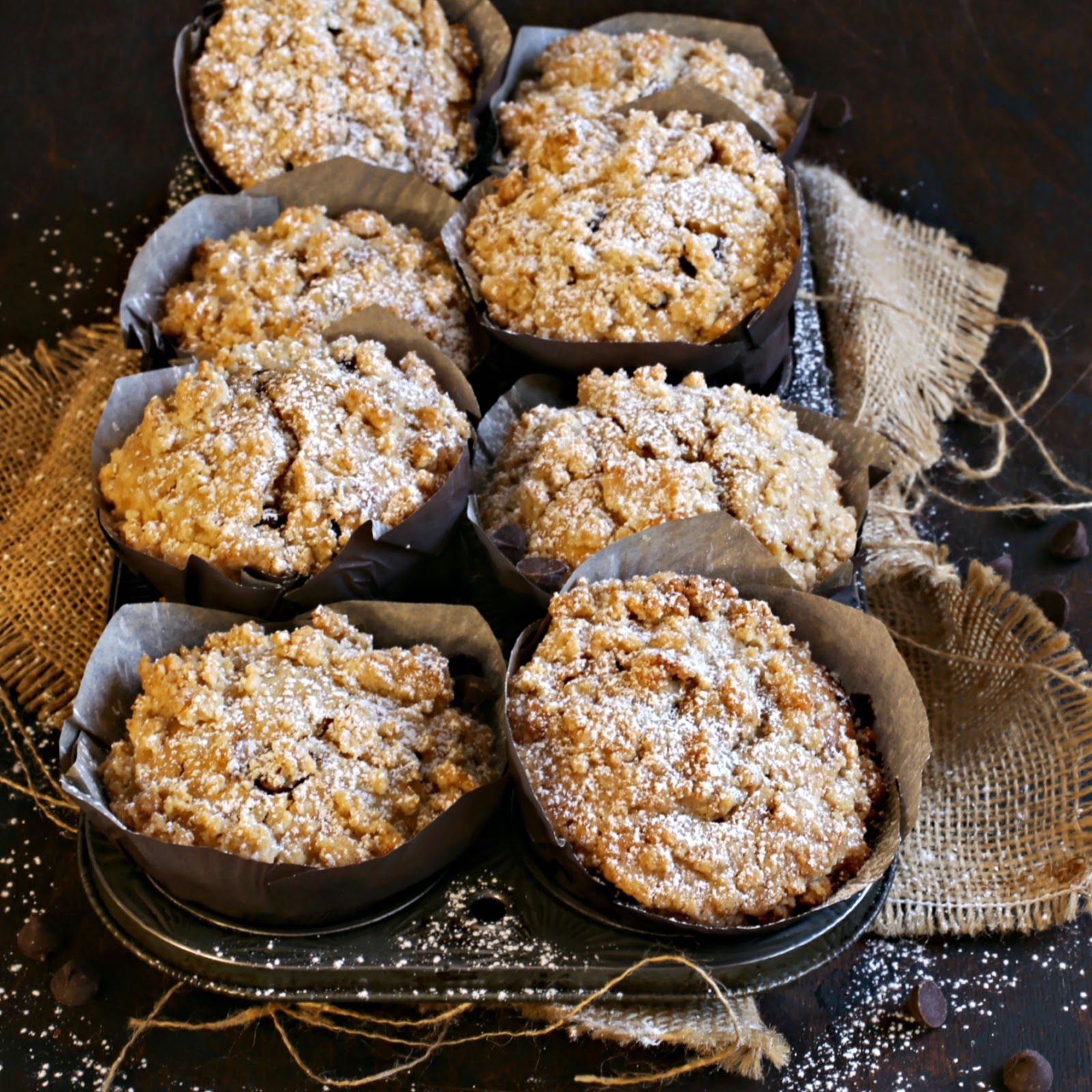 Recipe for bakery style chocolate chip muffins with a crumb topping.