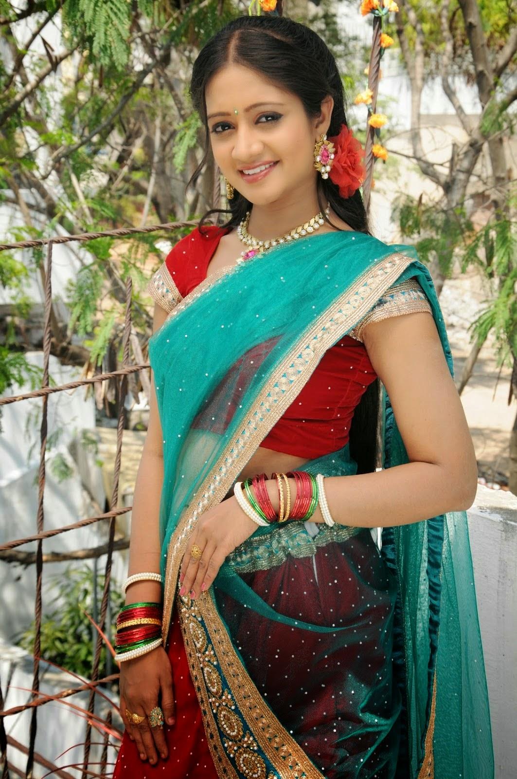 Spicy Saree: Actress Sandeepthi Hot Navel Stills In Sexy Half Saree