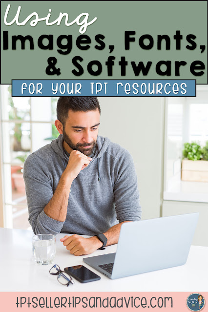 Using Software, Images, and Fonts in TPT Products; man sitting with laptop thinking