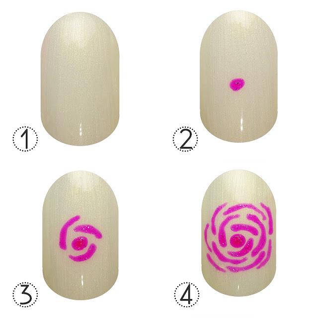 Pink Gellac Abstract Rose nail art