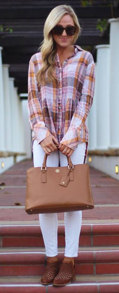 how to wear a plaid shirt : bag + boots + white skinnies