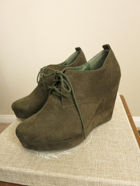 {SALE} Olive Green Suede Wedges
