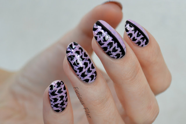 partial stamping nails moyou artist plate glitter purple