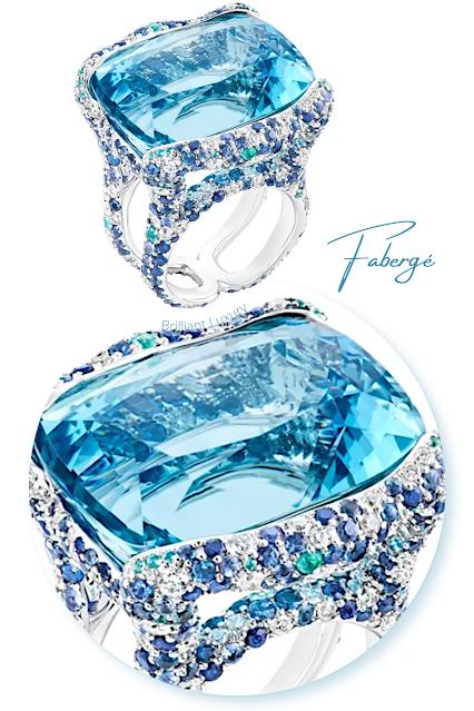 Fabergé light blue Emotion Katharina white gold 39.70ct aquamarine diamond ring #brilliantluxury