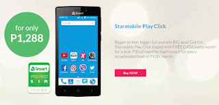 Smart offers Starmobile Play Click only P1288 with free 1 Year Internet
