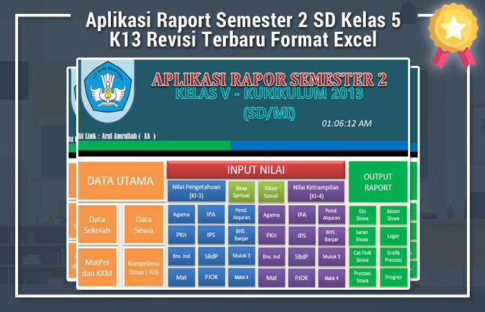 Aplikasi Raport Semester 2 SD Kelas 5 K13 Revisi Terbaru Format Excel