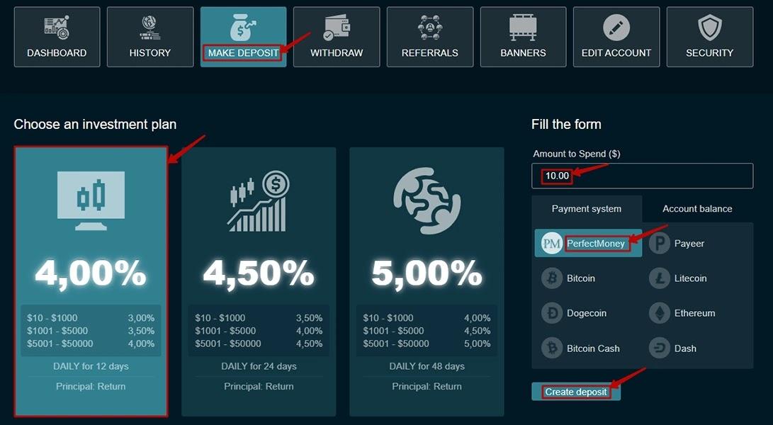 Создание депозита в Dividend Market