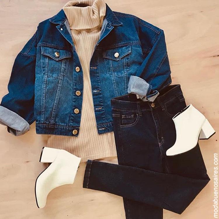 Moda invierno 2019. Looks invierno 2019. Camperas de jeans, pantalones jeans.