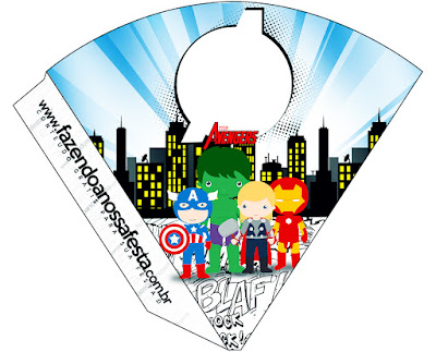 Avengers Chibi Style, Free Printable Cones.