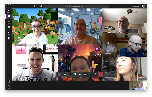 Teams screenshot, showing eight of us, all smiling and with a range of fun backgrounds.