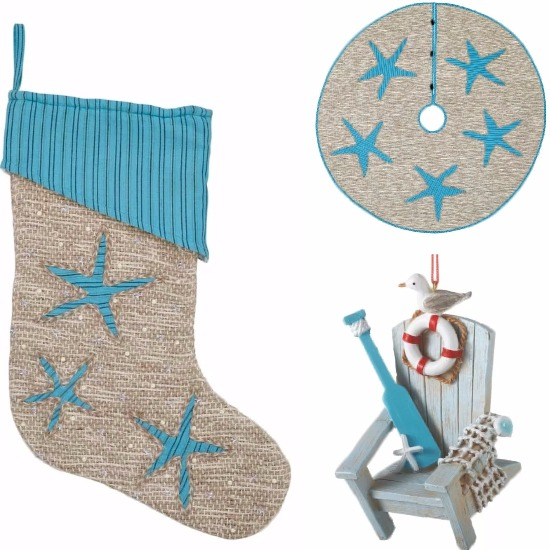 Blue Starfish Christmas Stockings and Matching Tree Skirt