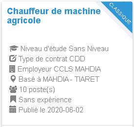 CCLS MAHDIA TIARET Chauffeur de machine agricole