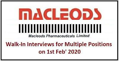 Macleods Pharma walk-in interview for multiple positions on 1st Feb' 2020