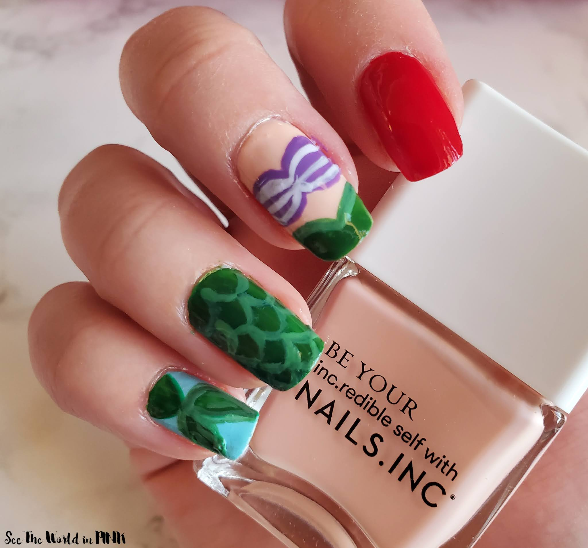 Manicure Monday - The Little Mermaid Ariel Nail Art