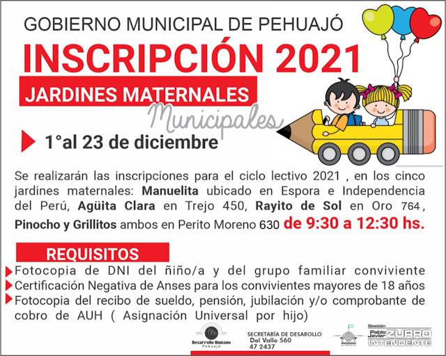 Se abre la inscripción 2021 a los jardines maternales municipales en Pehuajó